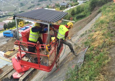 Savièse Slope Stabilisation - earth anchor driven into slope