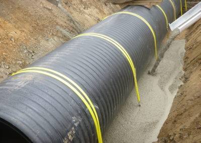 Chiltern Street Culvert - Pipeline secured with Platipus strap and anchors