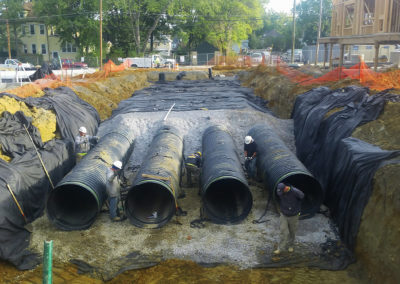 Town Center at Haddon Underground Storage System – USA - Pipes to be secured with ground anchors