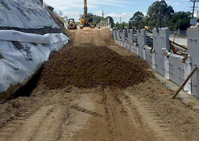 M4 Widening Temporary Works Sydney slope ready for anchor installation