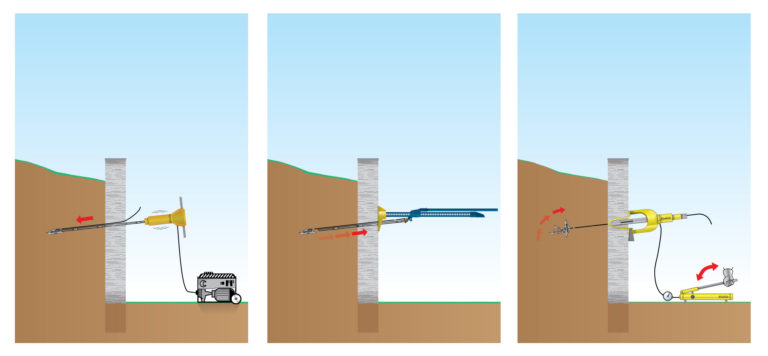 Graphic showing the installation of a Platipus earth anchor on a slope using hydraulic equipment