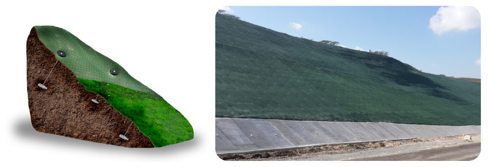 Erosion control graphic and photo of appliaction in Equador