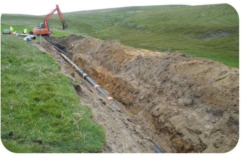 installing anchor around sewage pipeline