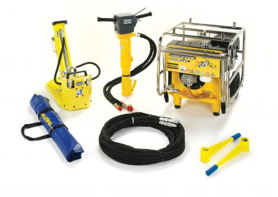 The range of tools used to install a Platipus electricity distribution systems in any location.