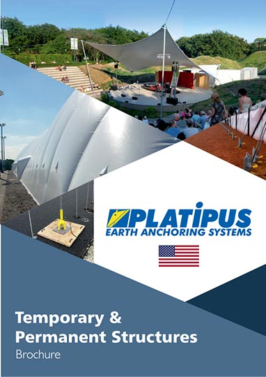 Platipus Temporary & Permanent Structures brochure cover with US flag