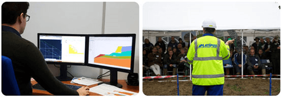 A geotechnical engineer working at a computer & a trainer in Platipus high-vis giving a demonstration to a crowd of landscape architects