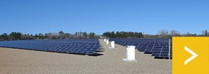 Solar park containing rows of ground mounted solar panels